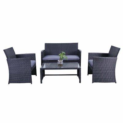 Lampkins Rattan Patio Furniture 4 Piece Sofa Seating Group Fabric: Gray
