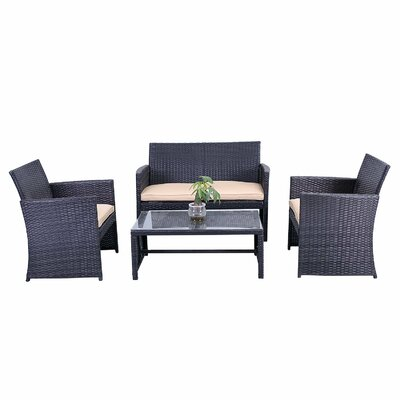 Lampkins Rattan Patio Furniture 4 Piece Sofa Seating Group Fabric: Cream