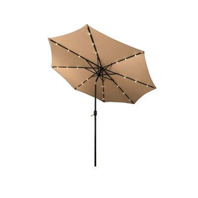 Fiqueroa 9 Solar Powered LED Lighted Tilting Drape Umbrella Color: Tan