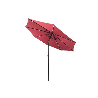 Fiqueroa 9 Solar Powered LED Lighted Tilting Drape Umbrella Color: Burgundy