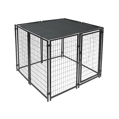 Dog Kennel Shade Cover with Aluminum Grommets Color: Black, Size: 72 H x 144 W x 0.25 D