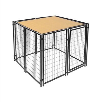 Dog Kennel Shade Cover with Aluminum Grommets Color: Beige, Size: 60 H x 120 W x 0.25 D