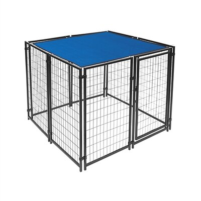 Mercier Dog Kennel Shade Cover with Aluminum Grommets Color: Blue, Size: 60 H x 60 W x 0.25 D
