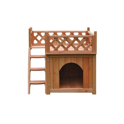 Merle Luxurious Wooden Dog Yard Kennel with Side Steps and Balcony