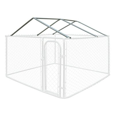 Full Steel Chain Link Dividable Galvanized Dog Kennel Roof Frame Size: 19.6 H x 120 W x 120 D