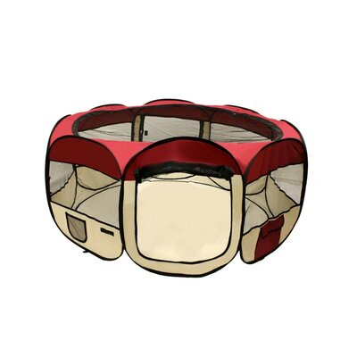 Merriam Octagon Pet Pen Size: 24 H x 45 W x 45 D, Color: Red