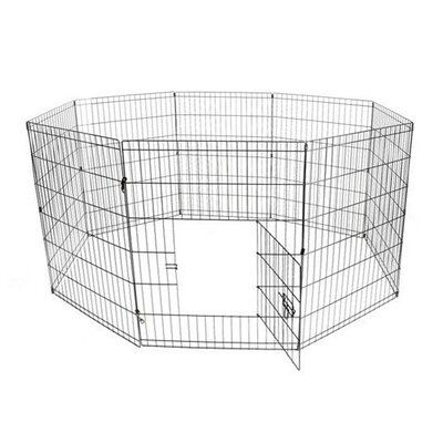 Exercise Cage Fence 8 Panel Pet Pen Size: 42 H x 192 W x 0.2 D, Color: Black