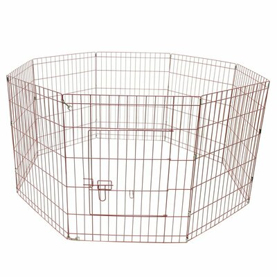 Exercise Cage Fence 8 Panel Pet Pen Size: 30 H x 192 W x 0.2 D, Color: Pink