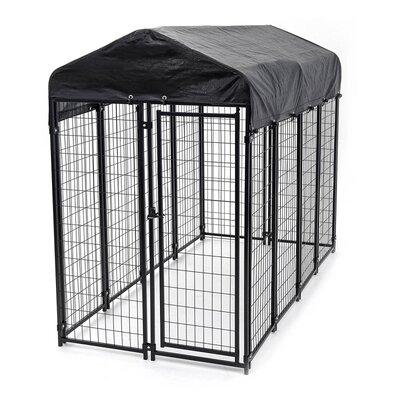 Full Coverage Steel Roof Frame and Heavy Duty Waterproof Cover for Dog Kennel
