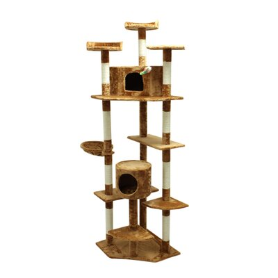 "Image of 80"" Condo Scratching Post Furniture Cat Tree"
