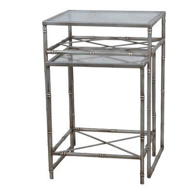 2 Piece Nesting Tables Color: Aged Silver
