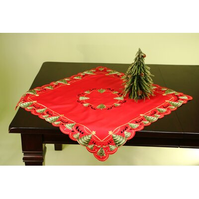 Fine Linen Holiday O'Christmas Tree Square Table Topper