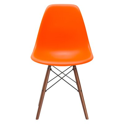 Vortex Solid Wood Dining Chair Seat Color: Orange, Base Finish: Walnut