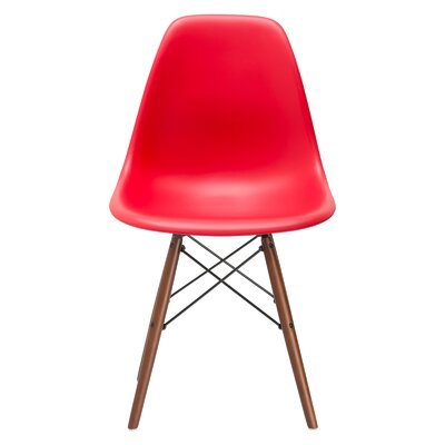 Vortex Solid Wood Dining Chair Seat Color: Red, Base Finish: Walnut