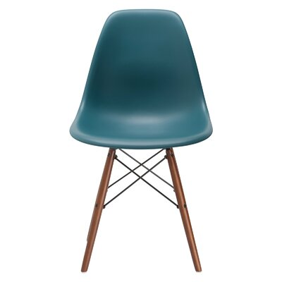 Vortex Side Chair Seat Color: Teal, Base Finish: Walnut
