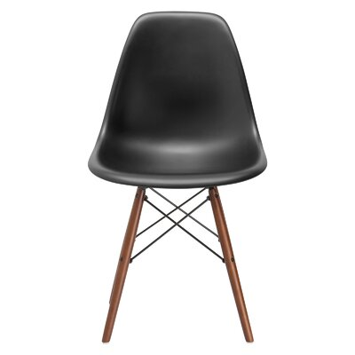 Vortex Solid Wood Dining Chair Seat Color: Black, Base Finish: Walnut