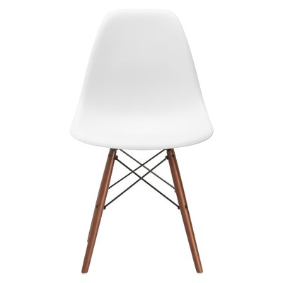Vortex Side Chair Seat Color: White, Base Finish: Walnut