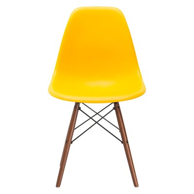 Vortex Side Chair Seat Color: Yellow, Base Finish: Walnut