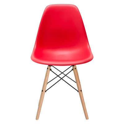 Vortex Solid Wood Dining Chair Seat Color: Red, Base Finish: Natural
