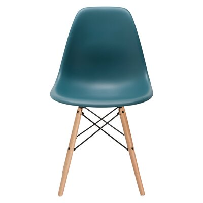 Vortex Solid Wood Dining Chair Seat Color: Teal, Base Finish: Natural