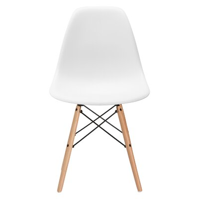 Vortex Solid Wood Dining Chair Seat Color: White, Base Finish: Natural
