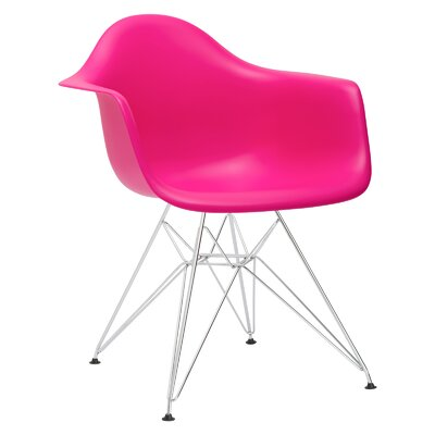 Padget Arm Chair (Set of 2) Upholstery: Fuchsia, Leg Finish: Chrome