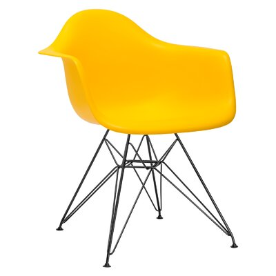 Padget Arm Chair (Set of 2) Upholstery: Yellow, Leg Finish: Chrome