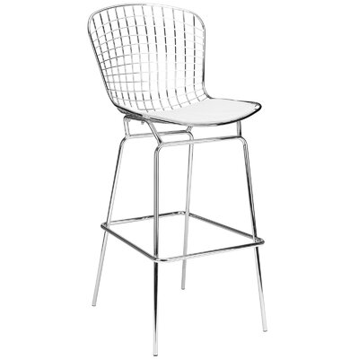 Makris 32 Bar Stool Seat Color: White