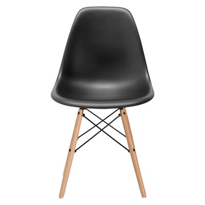 Vortex Side Chair Seat Color: Black, Base Finish: Natural