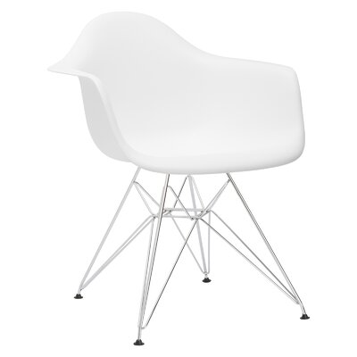 Padget Arm Chair (Set of 2) Upholstery: White, Leg Finish: Chrome
