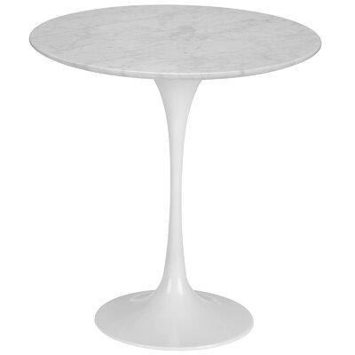 Grove City Marble End Table Color: White