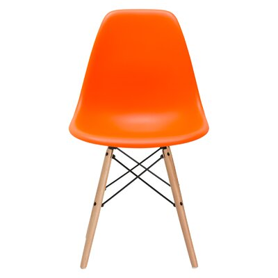 Vortex Solid Wood Dining Chair Seat Color: Orange, Base Finish: Natural