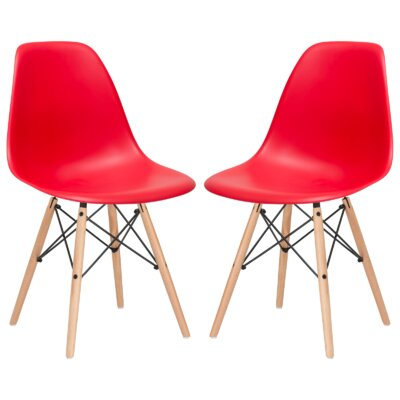Solid Wood Dining Chair Finish: Red