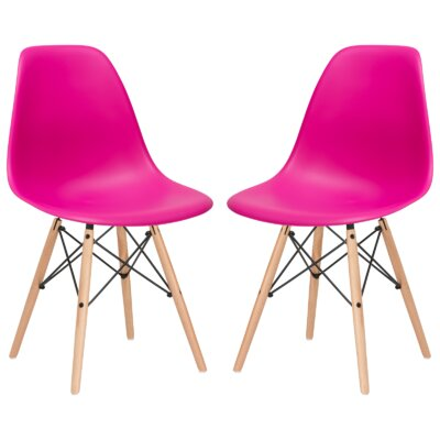 Boisvert Solid Wood Dining Chair Finish: Fuchsia