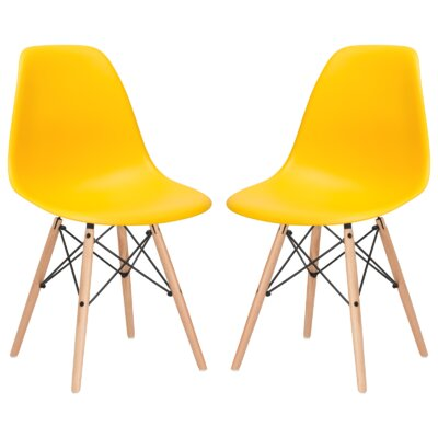 Boisvert Solid Wood Dining Chair Finish: Yellow