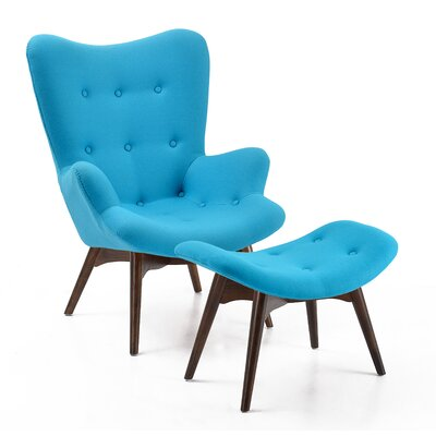 Auzzie Lounge Chair and Ottoman Upholstery: Blue