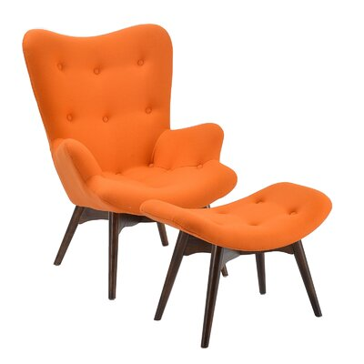 Auzzie Lounge Chair and Ottoman Upholstery: Orange