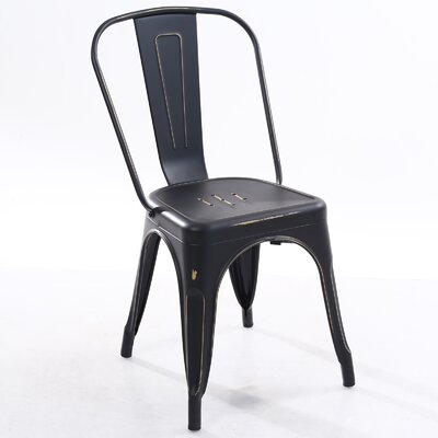 Trattoria Side Chair Color: Distressed Black