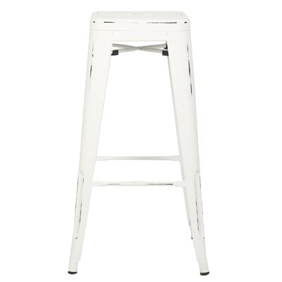 Alyssa Handmade 30 Bar Stool Finish: Distressed White