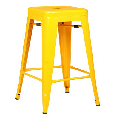 Alyssa Traditional 24 Bar Stool Finish: Yellow
