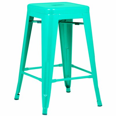 Alyssa Traditional 24 Bar Stool Finish: Aqua