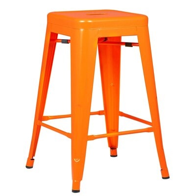 Alyssa Traditional 24 Bar Stool Finish: Orange