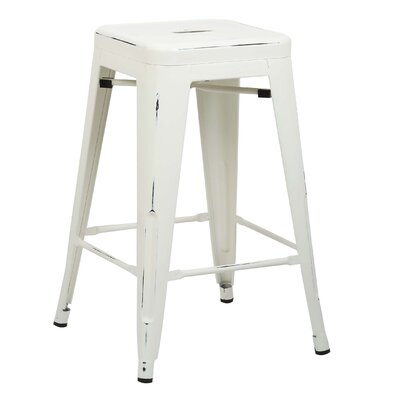 Alyssa Traditional 24 Bar Stool Finish: Distressed White