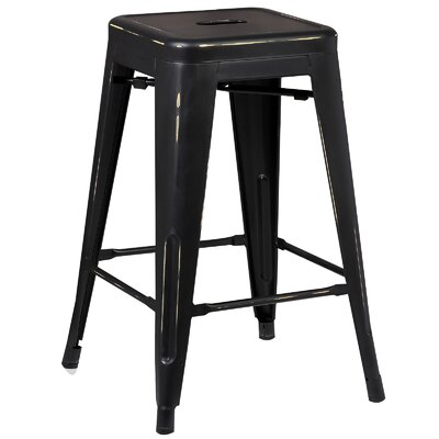 Alyssa Traditional 24 Bar Stool Finish: Distressed Black