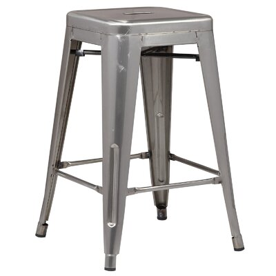 Alyssa Traditional 24 Bar Stool Finish: Polished Gunmetal