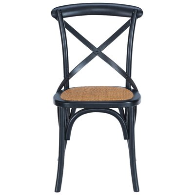 Hyacinthe Crossback Solid Wood Dining Chair Set Finish: Black