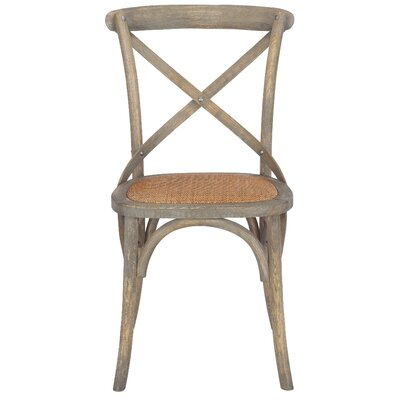 Hyacinthe Crossback Solid Wood Dining Chair Set Finish: Weathered Oak