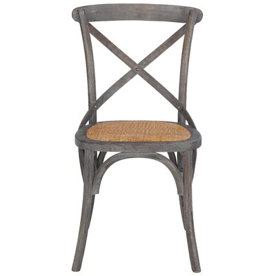 Hyacinthe Crossback Solid Wood Dining Chair Set Finish: Ash