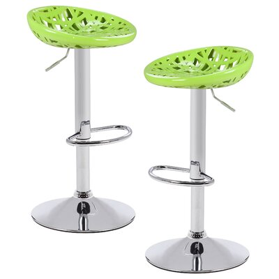 Chmielewski Adjustable Height Swivel Bar Stool Color: Green