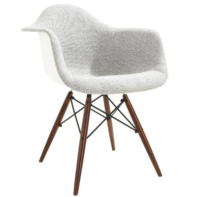 Quintus Padded Upholstered Dining Chair Upholstery Color: Light Gray, Leg Color: Walnut
